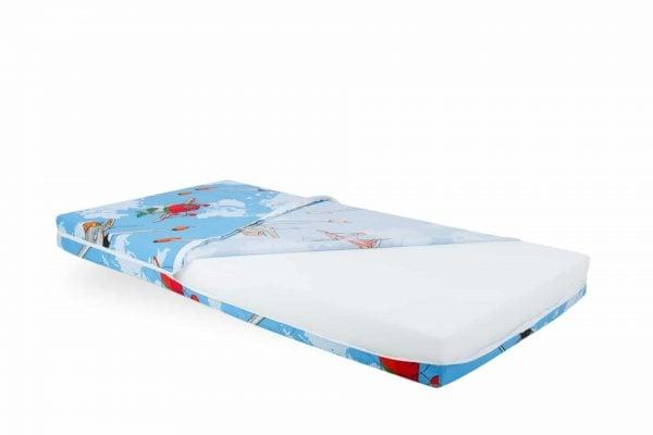 Saltea Pat Somnart Ortopedica cu husa protectie impermeabila pentru bebelusi si copii model Aviator 60×120