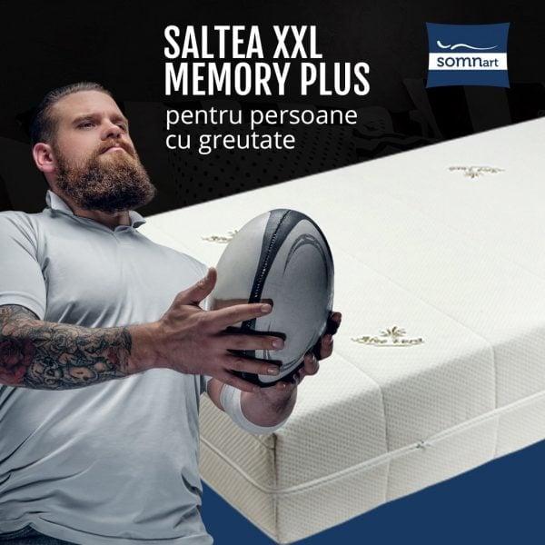 Saltea ortopedica Somnart XXL Memory Plus 160x200x25cm pentru persoane cu greutate, spuma poliuretanica cu memorie 22+3cm, husa Aloe Vera detasabila si lavabila, nerulata, fermitate mare