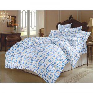 Lenjerie pentru 2 persoane Somnart, bumbac 100%, albastru, model patrate