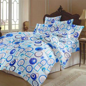 Lenjerie pentru 2 persoane Somnart, bumbac 100%, bleu, model cercuri