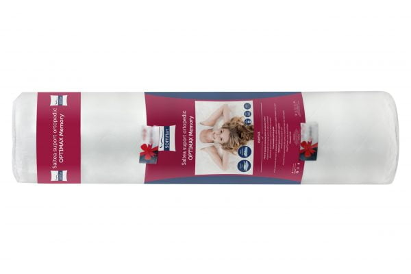 Saltea cu memorie Somnart Optimax Memory 140x200x18cm spuma poliuretanica cu memorie 15+3, husa cu 3D detasabila si lavabila, manere, fermitate medie