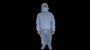 Combinezon unica folosinta, albastru, material polipropilena TNT, 40 g/mp – M