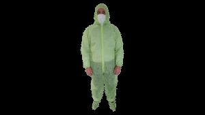 Combinezon unica folosinta, verde, material polipropilena TNT, 40 g/mp – M
