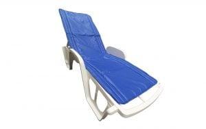 Saltea impermeabila pentru sezlong Somnart 60x190cm, doua segmente, interior vatelina, grosime 1cm, bleumarin