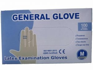SET 100 x Manusi albe, LATEX, pentru protectie maini, usor pudrate – L