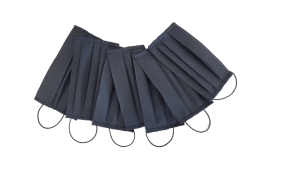 Set: 10 x Masca neagra, lavabila, reutilizabila, netesut polipropilena, 1 strat, 3 pliuri (10 bucati masti)