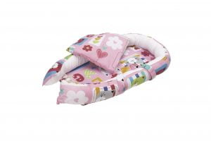 Set Baby Nest Somnart: Cosulet bebelusi + Salteluta 42x84x2cm + Paturica 70x70cm, model Pisicute