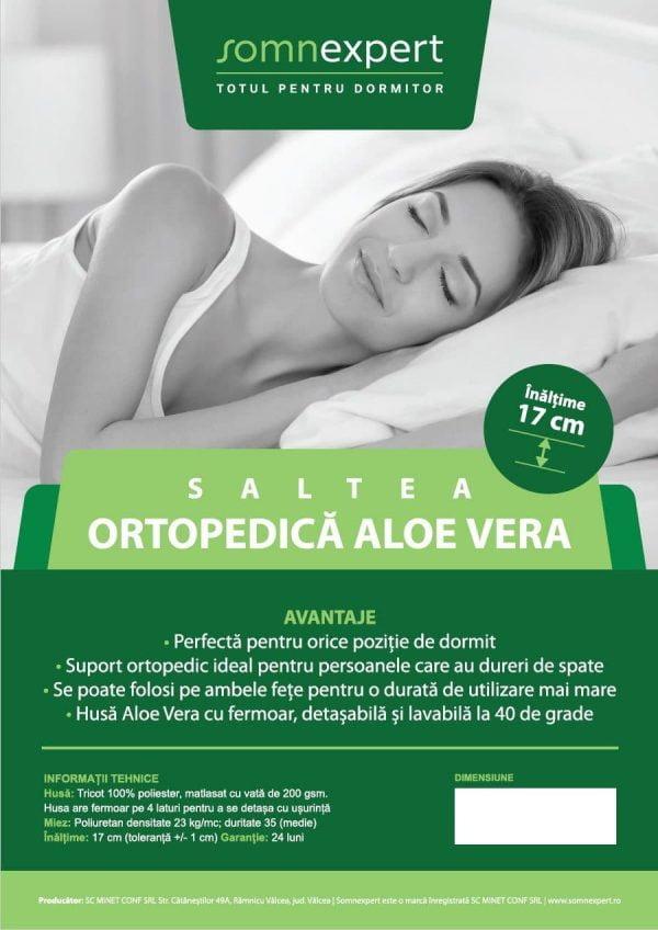 Saltea ortopedica Somnexpert 90x200x17cm spuma poliuretanica, husa bumbac Aloe Vera detasabila si lavabila, fermitate medie