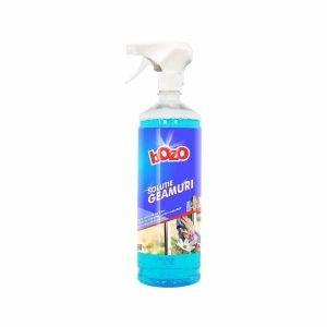 Solutie de curatat geamuri marca Bozo, 1 kg, cu pulverizator smart