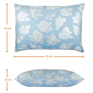 Perna SOMNART, 50×70 cm, umplutura pene 90%, puf 10%, bumbac 100%, model floral bleu