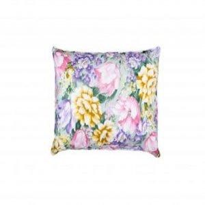 Perna SOMNART, 40×40 cm, umplutura pene 90%, puf 10%, bumbac 100%, model floral multicolor