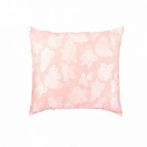 Perna SOMNART, 60×60 cm, umplutura pene 90%, puf 10%, bumbac 100%, model floral roz