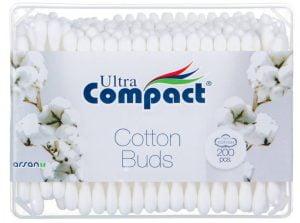 Betisoare de urechi, 100% bumbac, Ultra Compact Cotton Buds, 200 buc