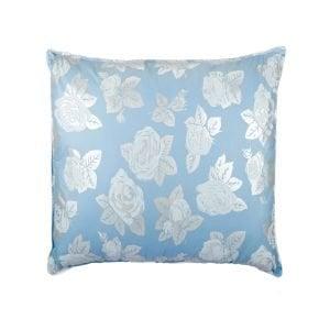 Perna SOMNART, 40×40 cm, umplutura pene 90%, puf 10%, bumbac 100%, model floral bleu
